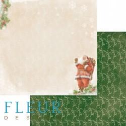 """Лист бумаги для скрапбукинга """"Дед мороз"""", коллекция """"Новогодняя ночь"""", 30х30, плотность 190 гр"""