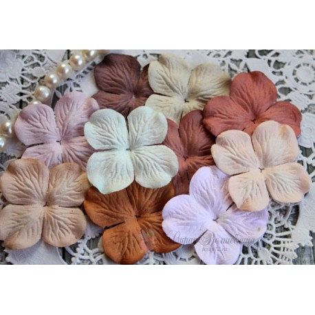 Набор цветов гортензий Винтажный микс, 50мм, 10 цветочков